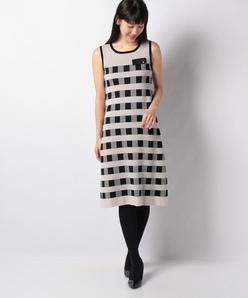 【アンサンブル対応】ハノン チェックジャカードニットドレス