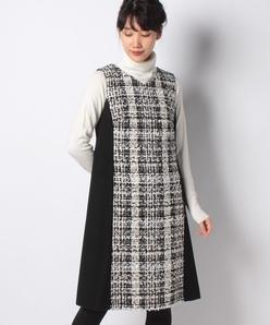 【セットアップ対応】クラレンソン チェックツイード×メルトン ドッキングドレス