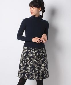 Dutel フラワージャカード×ウールリブ ニットドッキングドレス