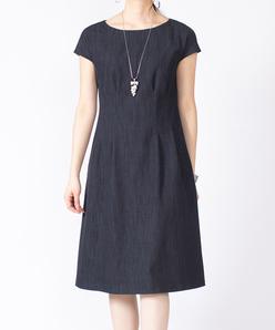 【セットアップ対応】【洗える】コットンデニム タックドレス