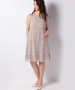 シフォンジョーゼット 75デニール ノースリーブティアードドレス