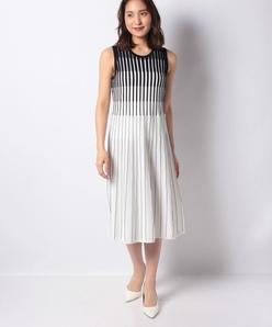 【アンサンブル対応】rena 配色タック柄 ニットドレス