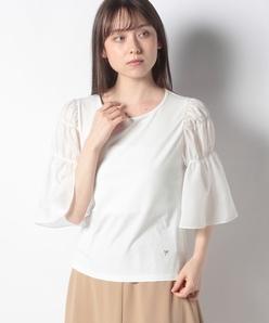 【洗える】ソフトベア天+スパンローン ギャザースリーブTシャツ