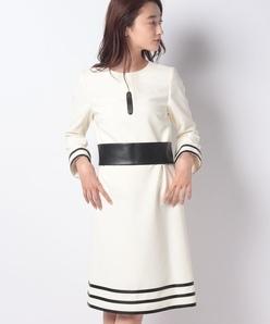 バイカラーAラインドレス(ベルト付き)/二重織ストレッチ