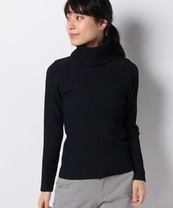 リブ編みオフタートルセーター
