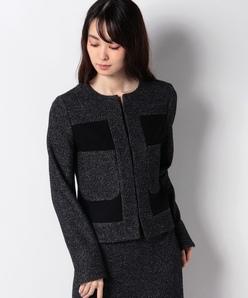 【セットアップ対応】ノーカラーショートジャケット/メランジツィード