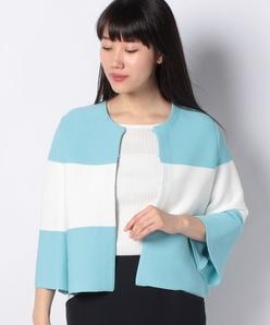 リブ編みバイカラー ニットジャケット