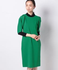 ミラノリブ バイカラーニットドレス