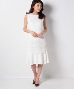 【セットアップ対応】フリンジレース ペプラムドレス