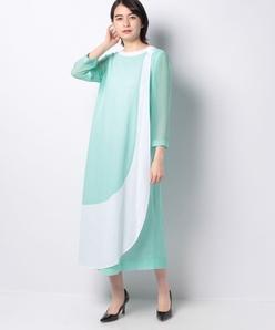 【60thAnniversary】 カラミメッシュ バイカラードレス