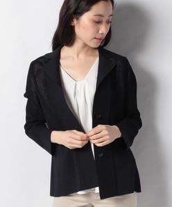 ミラノリブ×メッシュ編み ニットジャケット