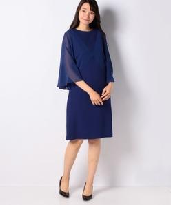 カラミ織り×シフォン ストレートラインドレス