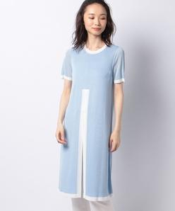 バイカラー ニットチュニックドレス