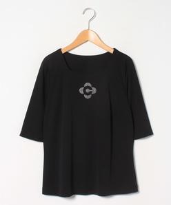 【大きいサイズ】【洗える】レーヨンポリスムース 五分袖カットソー