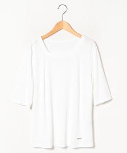 【大きいサイズ】【洗える】五分袖カットソー/レーヨンポリスムース