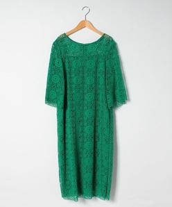 【大きいサイズ】ケミカルレース ストレートラインドレス