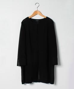 【大きいサイズ】【セットアップ対応】カラミ織り セミロングジャケット