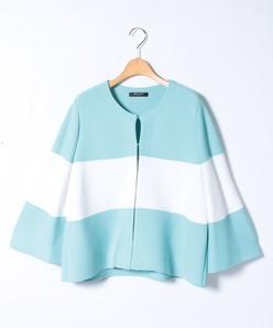 【大きいサイズ】リブ編みバイカラーニットジャケット