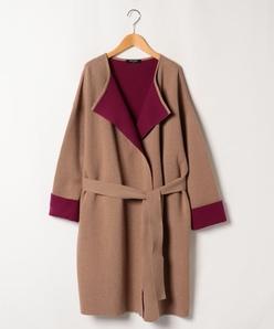【大きいサイズ】リバー編みニットコート