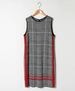 【大きいサイズ】グレンチェックジャカード ニットジャンパードレス