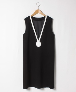 【大きいサイズ】ポンチ バイカラージャンパードレス