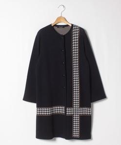 【大きいサイズ】千鳥ジャカードチェック ロングニットジャケット