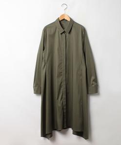 【大きいサイズ】【洗える】コンパクトストレッチ シャツドレス