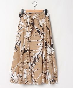 【大きいサイズ】パームリーフボイルプリント フレアスカート