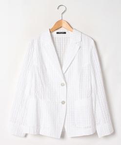 【大きいサイズ】先染チェック塩縮加工 テーラードジャケット