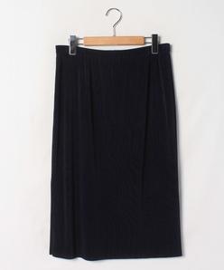 【大きいサイズ】【洗える】トリコットプリーツ ミディ丈スカート