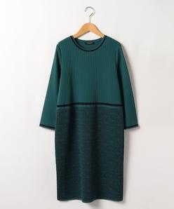 【大きいサイズ】幾何柄ジャカード ニットドレス