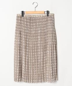 【大きいサイズ/セットアップ対応】シフォン楊柳千鳥柄プリントプリーツスカート