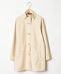 【大きいサイズ】織柄プリントボンディングコート