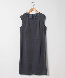 【大きいサイズ】トリコットデニムプリントノースリーブドレス