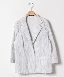 【大きいサイズ】ストライプタックジャカードテーラードジャケット