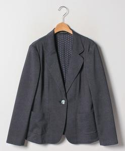 【大きいサイズ】トリコットデニムプリントテーラードジャケット