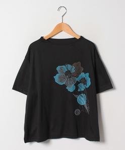 【大きいサイズ】スムース花柄刺繍カットソー
