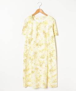 【大きいサイズ】コットンレース花柄プリントドレス