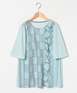 【大きいサイズ】【洗える】強撚スムース トロンプルイユPTカットソーTシャツ