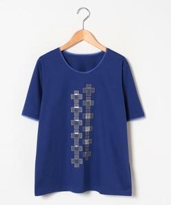 【大きいサイズ】ロイヤルクールスムース×刺繍 カットソー