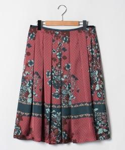 【大きいサイズ】【セットアップ対応商品】Erica サテン小紋×花柄パネルプリント スカート