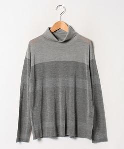【大きいサイズ】【アンサンブル対応】16Gラメ天竺 カシミヤタートルネックセーター