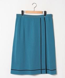 【大きいサイズ】【セットアップ対応】16Gミラノリブ 配色ライン使いスカート
