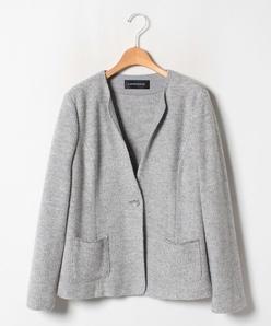 【大きいサイズ】8G ツィード調柄編 ニットジャケット
