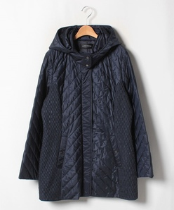 【大きいサイズ】フード付きコート/高密度ナイロン×オニべジ×キルティング