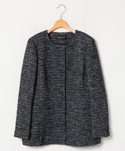 【大きいサイズ】へリンボンループツィード ジャケットコート