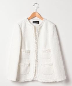 【大きいサイズ】インポート素材 ファンシーツイードジャケット