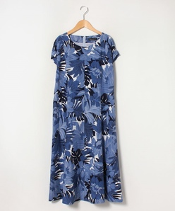 【大きいサイズ】麻混ボイル フラワープリントドレス