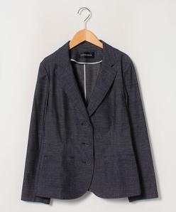 【大きいサイズ】インポート ストレッチデニム調テーラードジャケット