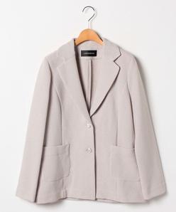 【大きいサイズ】インレイ編み テーラードジャケット